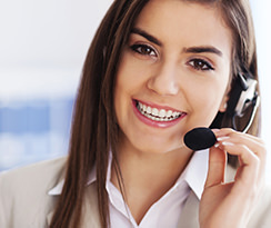 Woman with Phone Headset on - Contact Us Dropdown Image