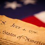 Photo of the Constitution and American Flag - Fourth of July